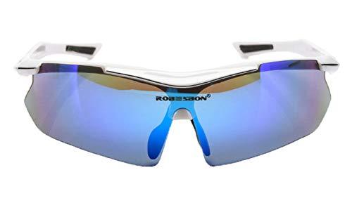 Adisaer Cycling Glasses Wind Mountain Bike Riding Polarized Glasses White for Unisex