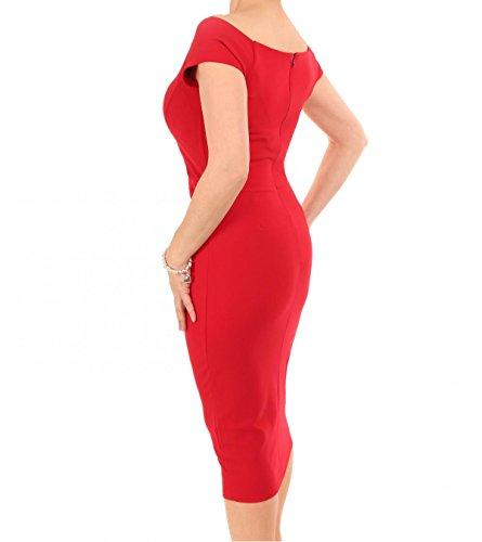Bardot im Damen Mit Kleid verziertes Rüschen Rot Stil wFRqaX