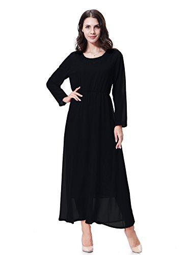GladThink donne chiffon Maniche lunghe Maxi abito Nero L