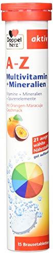 Doppelherz A-Z Brausetabletten mit Orange-Maracuja Geschmack – Multivitamin-Nahrungsergänzungsmittel mit vielen wichtigen Vitaminen, Mineralstoffen & Spurenelementen – 15 Brausetabletten (1 Packung)