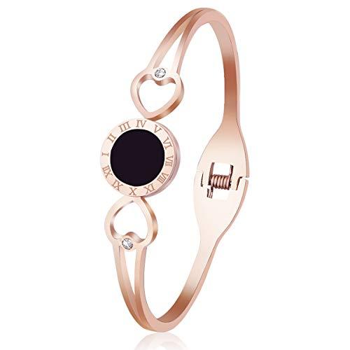 Women Cuff Bracelet Bangle Titanium Steel Fashion Classic Roman Numerals Lovely Brilliance Bracelets with Swarovski Crystal- Gifts for Women Girls