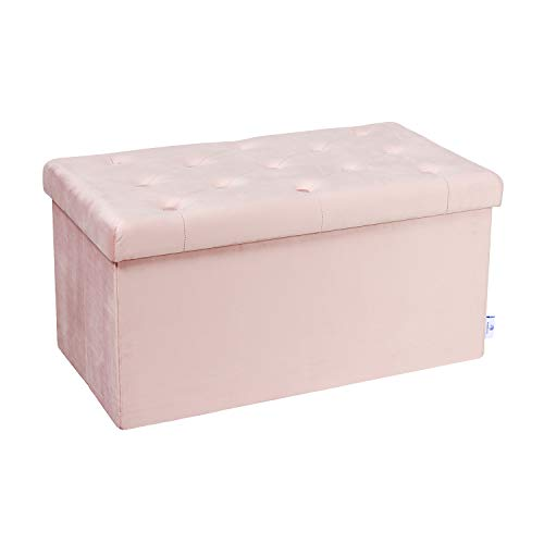 B FSOBEIIALAO Folding Storage Ottoman, Long Shoes Bench, Flannelette Footrest Stool Seat 31.5