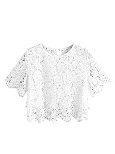 MAKEMECHIC Women's Short Sleeve Sexy Sheer Blouse Mesh Lace Crop Top White M