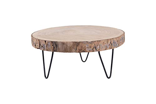 Round Wood Platter - Creative Co-Op DA7521 Paulownia Wood Pedestal with Metal Legs, 11 Inch, Natural Color