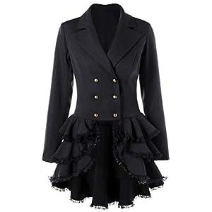 Nihsatin Women's Double Breasted Victorian Steampunk Blazer Coat Jacket with Lace Hem