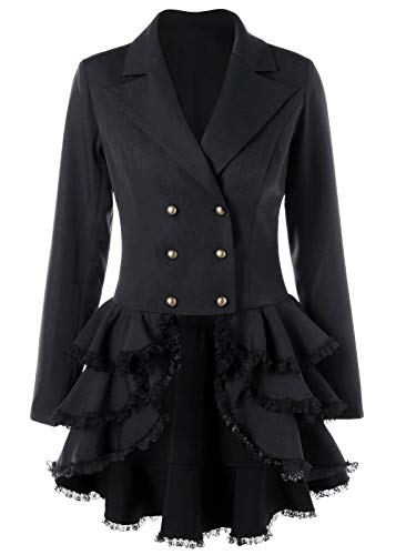 Nihsatin Women's Double Breasted Victorian Steampunk Blazer Coat Jacket with Lace Hem Black -