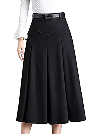 Tanming Womens Winter High Waist A-Line Pleated Wool Long Skirt with Waist Loops (Black, X-Small)
