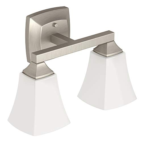 Moen YB5162BN Voss 2-Light Dual-Mount Bath Bathroom Vanity Fixture with Frosted Glass, Brushed Nickel