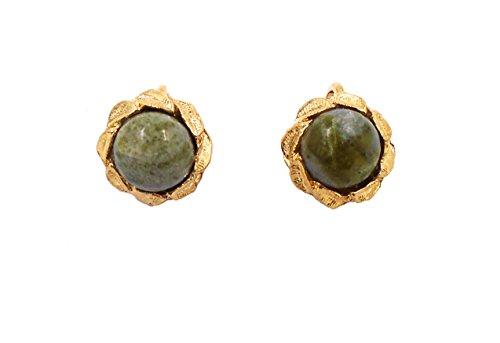 - Irish Connemara Marble: Gold-Plate CLIP Earrings