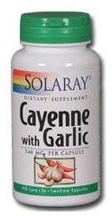 Solaray Cayenne with Garlic Capsules, 540 mg, 100 Count