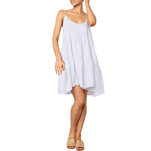 - Women Summer Long Dress LuluZanm Ladies Casual Sleeveless Backless Bow Bandage Dress Loose Party Dress Sundress White