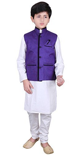 Desi Sarees Jungen Indian Formelle Kleidung Modi Nehru Gandhi Kinder Weste Bollywood Party 009 Blau)