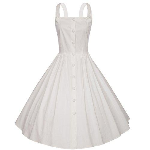 Moollyfox Mujer Retro Vestido Vintage Años 50 Rockabilly Oscilación Cóctel Vestidos de Fiesta de Noche Blanco