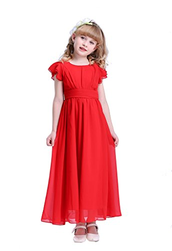 Happy Rose Flower Girl's Dress Prom Party Bridesmaid Dress Long Red 8 -