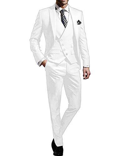 GATMSTZ Men's 3 Pcs Business Suit Notch Lapel Jacket 4 Buttons Vest Separate Pants MN021-TH(White,40R)