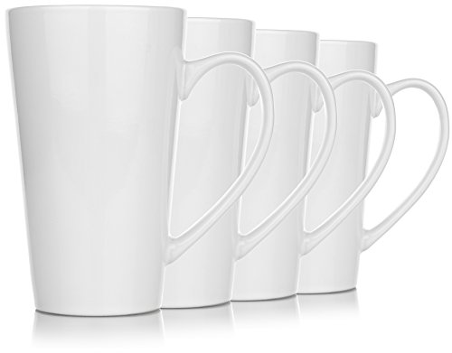 Large Tea Mugs - Hikari 18oz Large Tall White Coffee Funnel Mugs. Heavy Duty Mugs w/Large Handles Used for Tea or Other Drinks, Set of 4