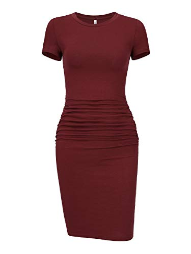 Knee Length Sheath - Laughido Women's Ruched Casual Plain Sundress Knee Length Sheath Bodycon T Shirt Dress (Short Sleeve Burgundy 01, X-Small)