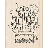 Inkadinkado Rubber Stamp-Fanciful Freehand Happy Birthday