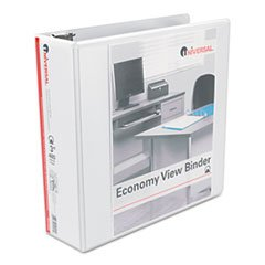 ** Economy Poly Round Ring View Binder, 3'' Capacity, White, 6/Pack