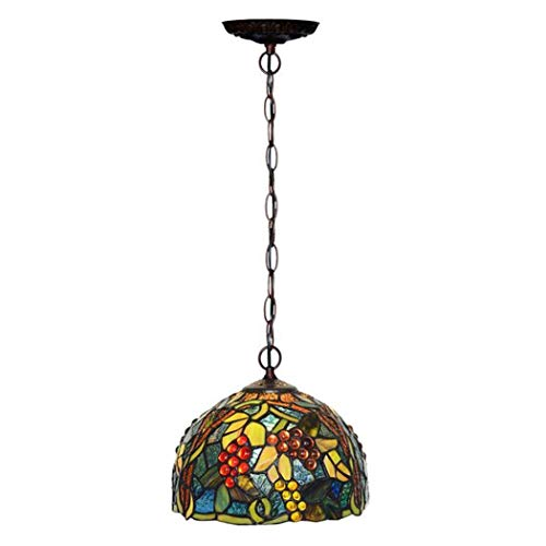 - ChuanHan Tiffany Style Chandelier/Pendant Lamp, European Style Pastoral 8' Stained Glass Grape Design Chandelier, Creative Cafe Bar Dining Room Decoration Pendant Light E14 Without Light Source