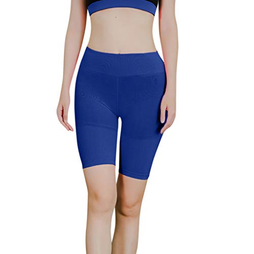 (Running Shorts Women Plus Size Hessimy Women's High Waist Workout Running Compression Shorts Blue)