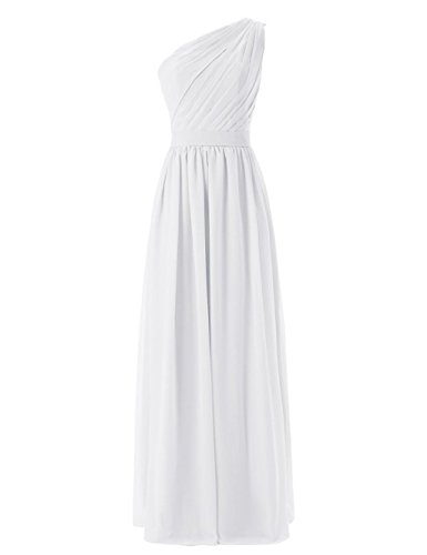 White Chiffon Long Homecoming Dresses Dress Bridesmaid Anna's Women's Bridal Shoulder One w1UPxqCfT