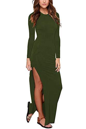 - Womens Long Sleeve Scoop Neck Solid Side Split Maxi Bodycon Dress Army Green XL