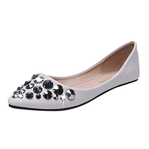 Respctful✿Women's Fashion Flats, New Classic Rivets Pointy Toe Slip On Comfort Dress Pumps Shoes White ()