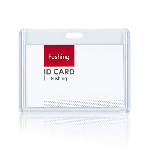 Fushing 6 Pack Heavy Duty ID Card Holders Double-Sided Clear Acrylic Crystal Badge Holder, Name Tag Holder for Student Employee Worker Office Meeting Company School (Horizontal)