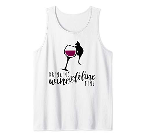 - Drinking Wine & Feline Fine Shirt Cat Lover Gift Tank Top