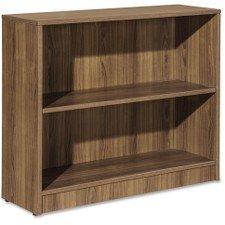 (Lorell Essentials Series Bookcase, 2-Shelf, Walnut)
