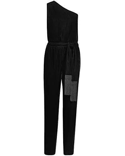 LAUREN RALPH LAUREN Womens Shaleaha Velvet One Shoulder Jumpsuit Black 10
