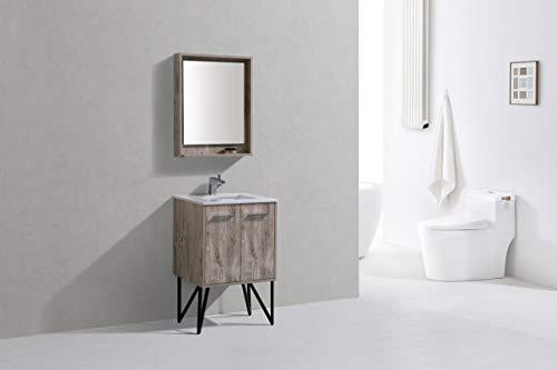 Bosco 24″ Modern Bathroom Vanity w/Quartz Countertop and Matching Mirror -  - bathroom-vanities, bathroom-fixtures-hardware, bathroom - 31cfurvaHQL -