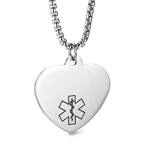 JF.JEWELRY Customize Stainless Steel Heart-Shaped Medical Alert ID Dog Tag Pendant Necklace for Men and Women-Silver