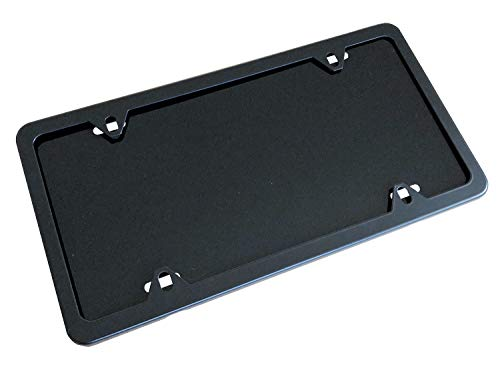 Heavy Gauge Aluminum License Plate Blank (0.040-1mm) with Optional License Plate Frame and Installation Hardware - Standard US Size 12x6 - Made in USA (Black Frame, Black)