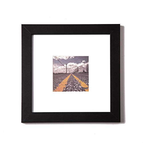 (Muzilife 8x8 Wood Picture Frame - Flat Profile - Set of 4 - for Picture 4x4 with Mat or 8x8 Without Mat)