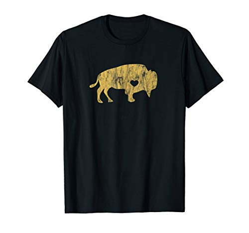 Gold Raging Buffalo T-Shirt Distressed I Love Buffaloes Tee T-Shirt