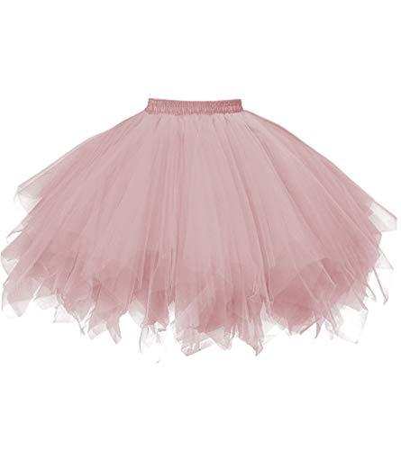 Dresstore Women's Short Vintage Petticoat Skirt Ballet Bubble Tutu Multi-Colored Blush S/M -
