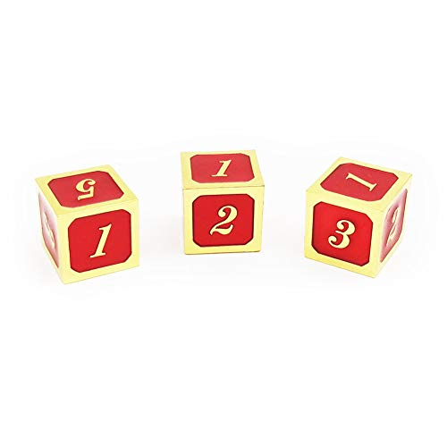 Haxtec 3 Pack Metal Dice DND Dice D6 Set for Dungeons and Dragons D&D RPG MTG Table Games-Pack of 3 (Gold Red)