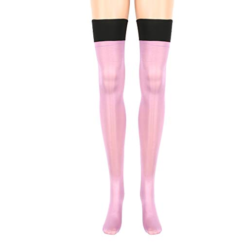 (UINKE Woman Thigh Stockings Nylon Transparent Sheer Lace High Cosplay Costume Party Accessory,Purple)