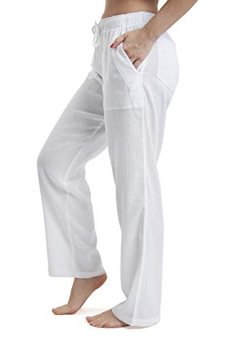 J & Ce Women's Gauze Cotton Beach Pants with Pockets (White, XXL)