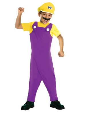 [Nintendo Boys Super Mario Brothers Wario Costume With Jumpsuit Hat & Mustache L] (Brother Costumes)
