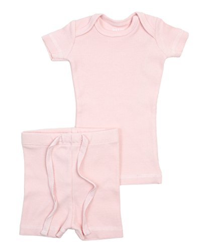 B&D Unisex 2 Piece Outfit - Pajama. Soft Cotton Fitted Ribbed Short Sleeved with Shorts Boys & Girls (Light Pink, 3T)