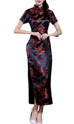 Lapiness Women's Long Chinese Dress Cheongsam Floral Sexy Evening Party (Black, (Floral Satin Brocade)