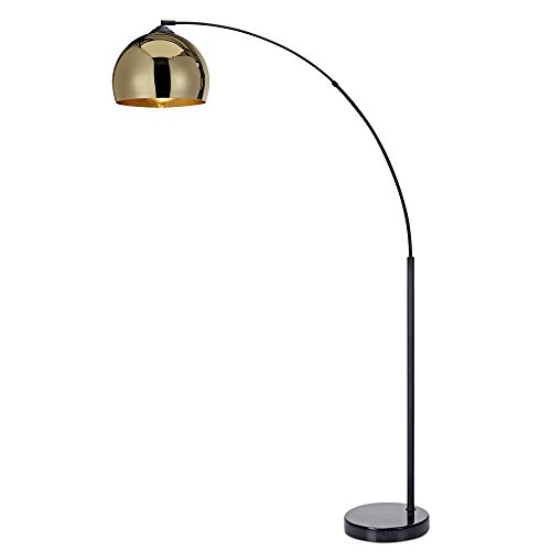 - Versanora VN-L00012 Arquer Arc Floor Lamp with Gold Shade and Black Marble Base Living Room Bedroom