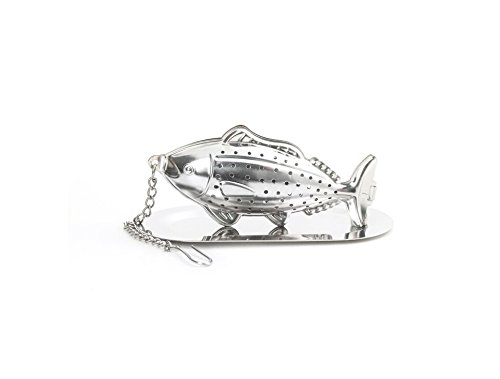 Kikkerland Fish Tea Infuser and Drip Tray, Silver