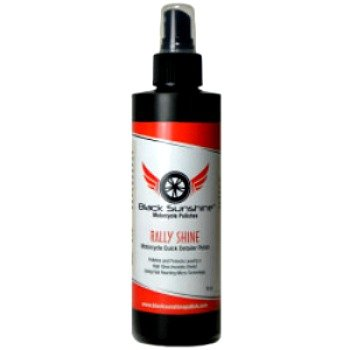 Black Sunshine Rally Shine - Use on all painted surfaces, clear coat, plastic, glass, chrome metal, vinyl and rubber trim on your bike.