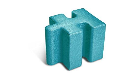 Logic Furniture JIGSTL17 Jigsaw 1 Edge Slot Ottoman, Teal by Logic Furniture