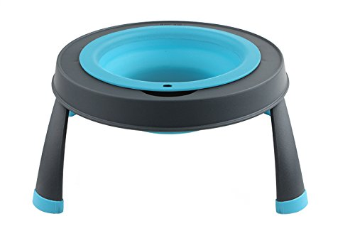 Dexas Popware for Pets Single Elevated Pet Feeder, Large, Gray/Blue by Dexas