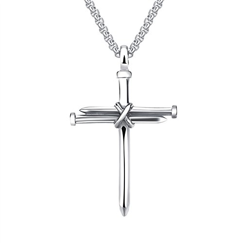 HIJONES Men's Stainless Steel Nail Cross Charm Pendant Necklace Chain 22 Inches, Polished Silver